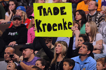 DENVER, CO - JANUARY 21:  A fan shows her lack of support of owner Stan Kroenke of the Denver Nuggets as they face the Los Angeles Lakers at the Pepsi Center on January 21, 2011 in Denver, Colorado. The Lakers defeated the Nuggets 107-97. NOTE TO USER: Us