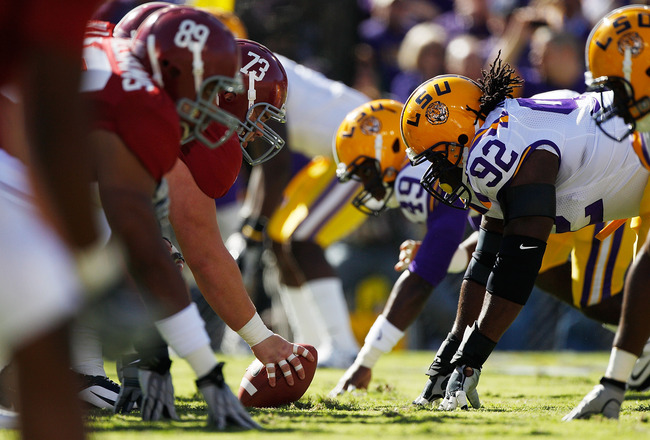 BATON ROUGE, LA - NOVEMBER 06:  Drake Nevis #92 of the Louisiana State University Tigers in action during the game against the Alabama Crimson Tide  at Tiger Stadium on November 6, 2010 in Baton Rouge, Louisiana.  (Photo by Chris Graythen/Getty Images)