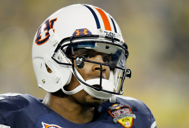 GLENDALE, AZ - JANUARY 10:  Cameron Newton #2 of the Auburn Tigers looks on during their game against the Oregon Ducks during the Tostitos BCS National Championship Game at University of Phoenix Stadium on January 10, 2011 in Glendale, Arizona.  (Photo by