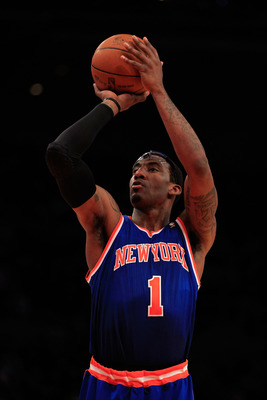 NEW YORK, NY - FEBRUARY 16:  Amar'e Stoudemire #1 of the New York Knicks shoots a free throw against the Atlanta Hawks at Madison Square Garden on February 16, 2011 in New York City. NOTE TO USER: User expressly acknowledges and agrees that, by downloadin