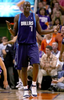PHOENIX - MAY 28:  DeSagna Diop #7 of the Dallas Mavericks reacts to a call in the first half against the Phoenix Suns in game three of the Western Conference Finals during the 2006 NBA Playoffs on May 28, 2006 at US Airways Center in Phoenix, Arizona.  N