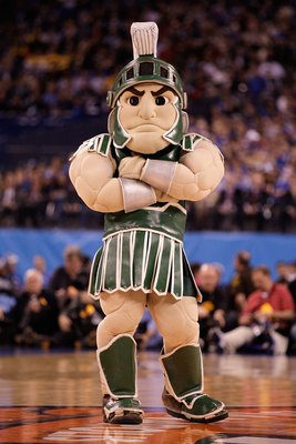 INDIANAPOLIS - APRIL 03:  Sparty, the mascot of the Michigan State Spartans, performs on the court before the Spartans take on the Butler Bulldogs during the National Semifinal game of the 2010 NCAA Division I Men's Basketball Championship on April 3, 201