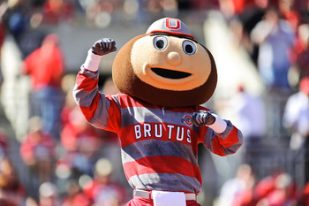COLUMBUS, OH - OCTOBER 9:  Mascot Brutus Buckeye of the Ohio State Buckeyes cheers on the team during a game against the Indiana Hoosiers at Ohio Stadium on October 9, 2010 in Columbus, Ohio.  (Photo by Jamie Sabau/Getty Images)