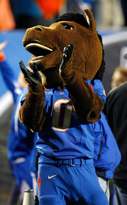 LAS VEGAS, NV - DECEMBER 22:  The Boise State Broncos mascot Buster appears on the sideline during the MAACO Bowl Las Vegas against the Utah Utes at Sam Boyd Stadium December 22, 2010 in Las Vegas, Nevada. Boise State Won 26-3.  (Photo by Ethan Miller/Get