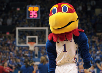 LAWRENCE, KS - DECEMBER 02:  The Kansas Jayhawk mascot during the game between the UCLA Bruins and the Kansas Jayhawks on December 2, 2010 at Allen Fieldhouse in Lawrence, Kansas.  (Photo by Jamie Squire/Getty Images)