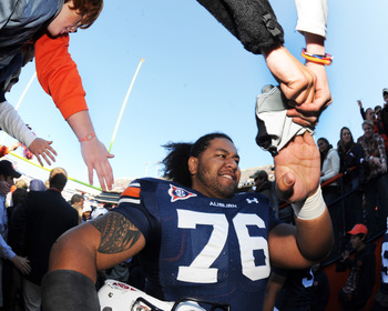 AUBURN, AL - NOVEMBER 6:  Offensive lineman Jorrell Bostrom #76  of the Auburn Tigers leaves the field against the Chattanooga Mocs November 6, 2010 at Jordan-Hare Stadium in Auburn, Alabama.  (Photo by Al Messerschmidt/Getty Images)