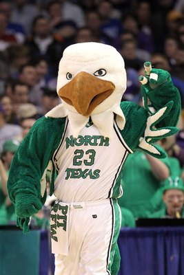 OKLAHOMA CITY - MARCH 18:  Scrappy the mascot for the North Texas Mean Green performs against the Kansas State Wildcats during the first round of the 2010 NCAA men's basketball tournament at Ford Center on March 18, 2010 in Oklahoma City, Oklahoma.  (Phot