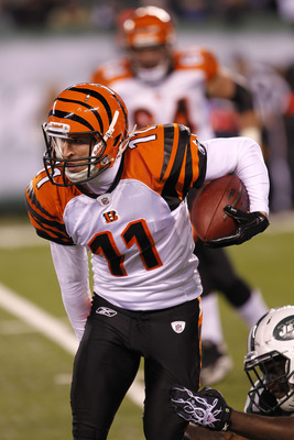 EAST RUTHERFORD, NJ - NOVEMBER 25:  Jordan Shipley #11 of the Cincinnati Bengals runs with ball against the New York Giants at New Meadowlands Stadium on November 25, 2010 in East Rutherford, New Jersey.  (Photo by Chris Trotman/Getty Images)