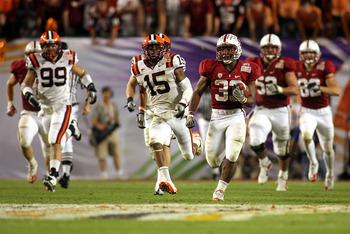 MIAMI, FL - JANUARY 03:  Stepfan Taylor #33 of the Stanford Cardinal runs the ball against the Virginia Tech Hokies during the 2011 Discover Orange Bowl at Sun Life Stadium on January 3, 2011 in Miami, Florida. Stanford won 40-12.  (Photo by Marc Serota/G