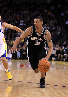 OAKLAND, CA - JANUARY 24:  George Hill #3 of the San Antonio Spurs in action against the Golden State Warriors at Oracle Arena on January 24, 2011 in Oakland, California.  NOTE TO USER: User expressly acknowledges and agrees that, by downloading and or us