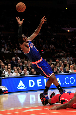 NEW YORK, NY - FEBRUARY 16:  Amar'e Stoudemire #1 of the New York Knicks shoots the ball against the Atlanta Hawks at Madison Square Garden on February 16, 2011 in New York City. NOTE TO USER: User expressly acknowledges and agrees that, by downloading an
