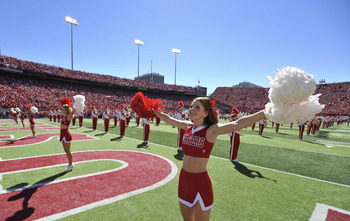 LINCOLN, NEBRASKA - SEPTEMBER 11: The Nebraska Cornhuskers cheerleaders warm up the crowd before the game between between the Nebraska Cornhuskers and the Idaho Vandals at Memorial Stadium on September 4, 2010 in Lincoln, Nebraska. Nebraska defeated Idaho