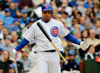 CHICAGO - MAY 15: Aramis Ramirez #16 of the Chicago Cubs flips his bat after a strike against the Pittsburgh Pirates at Wrigley Field on May 15, 2010 in Chicago, Illinois. (Photo by Jonathan Daniel/Getty Images)