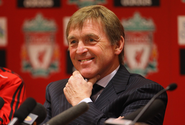 LIVERPOOL, ENGLAND - FEBRUARY 03:  Kenny Dalglish the manager of Liverpool faces the media during a press conference to introduce his new signings, Luis Suarez and Andy Carroll, at Anfield on February 3, 2011 in Liverpool, England.  (Photo by Alex Livesey