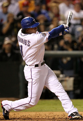 ARLINGTON, TX - NOVEMBER 01:  Elvis Andrus #1 of the Texas Rangers bats against the San Francisco Giants in Game Five of the 2010 MLB World Series at Rangers Ballpark in Arlington on November 1, 2010 in Arlington, Texas. The Giants won 3-1.  (Photo by Ron