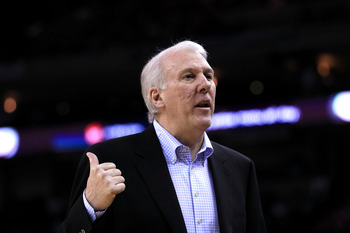 OAKLAND, CA - JANUARY 24:  Gregg Popovich of the San Antonio Spurs walks the sideline during their game against the Golden State Warriors at Oracle Arena on January 24, 2011 in Oakland, California.  NOTE TO USER: User expressly acknowledges and agrees tha