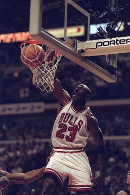 17 May 1998:  Michael Jordan #23 of the Chicago Bulls sinks a basket during a game against the Indianapolis Pacers at the NBA Eastern Conference Finals at the United Center in Chicago, Illinois.  The Jazz defeated the Lakers 112-77. Mandatory Credit: Jona