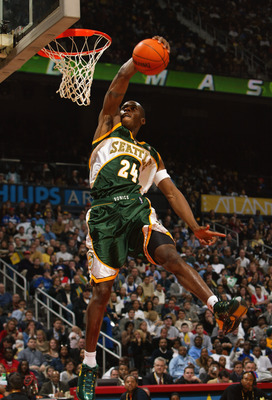 ATLANTA - FEBRUARY 8:   Desmond Mason #24 of the Seattle Sonics makes a dunk to go on to win second place at the Sprite Rising Stars Slam Dunk Contest during the 2003 NBA All-Star Weekend at Philips Arena on February 8, 2003 in Atlanta, Georgia.  NOTE TO