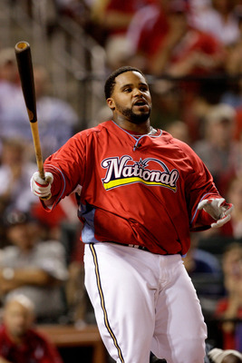 ST LOUIS, MO - JULY 13:  National League All-Star Prince Fielder of the Milwaukee Brewers competes in the third round on his way to winning the State Farm Home Run Derby at Busch Stadium on July 13, 2009 in St. Louis, Missouri.  (Photo by Jamie Squire/Get
