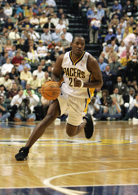NDIANAPOLIS - MAY 04: Fred Jones #20 of the Indiana Pacers moves the ball in game six of the Eastern Conference Quarterfinals against the New Jersey Nets during the 2006 NBA Playoffs at Conseco Fieldhouse on May 4, 2006 in Indianapolis, Indiana. The Nets