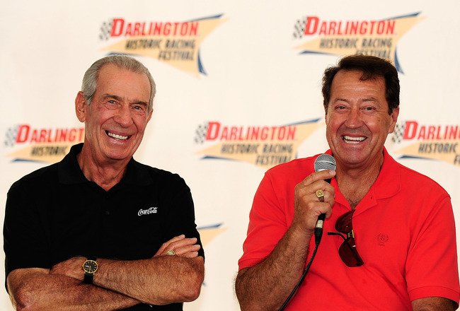 DARLINGTON, SC - SEPTEMBER 25:  NASCAR legends Ned Jarrett and Harry Gant speak to the fans during the Legends Q&A session during the Darlington Historic Racing Festival at Darlington Raceway on September 25, 2010 in Darlington, South Carolina.  (Photo by