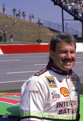 1993:  Dale Jarrett (L) and Ned Jarrett poses for a picture during the 1993 season. (Photo by Bill Hall/Getty Images)