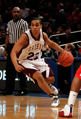 NEW YORK - JANUARY 13: Rayner Moquete #22 of the Fordham Rams handles the ball against the Dayton Flyers at Madison Square Garden on January 13, 2010 in New York, New York.  (Photo by Mike Lawrie/Getty Images)
