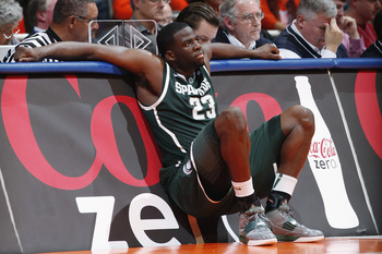 CHAMPAIGN, IL - JANUARY 18: Draymond Green #23 of the Michigan State Spartans looks on late in the game against the Illinois Fighting Illini at Assembly Hall on January 18, 2011 in Champaign, Illinois. Illinois defeated Michigan State 71-62. (Photo by Joe