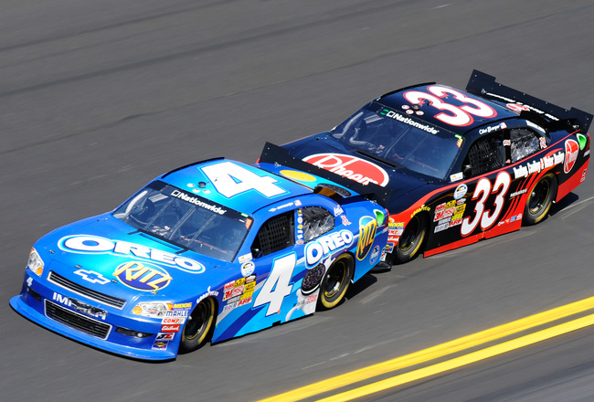 DAYTONA BEACH, FL - FEBRUARY 19:  Tony Stewart, driver of the #4 Oreo/Ritz Chevrolet,  and Clint Bowyer, driver of the #33 Rheem Heating, Cooling & Water Heating Chevrolet, race during the NASCAR Nationwide Series DRIVE4COPD 300 at Daytona International S