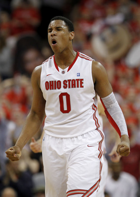 COLUMBUS, OH - FEBRUARY 15:  Jared Sullinger #0 of the Ohio State Buckeyes celebrates after a play during the second half against the Michigan State Spartans on February 15, 2011 at Value City Arena in Columbus, Ohio.  (Photo by Gregory Shamus/Getty Image