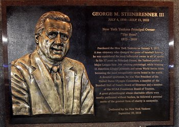 NEW YORK - SEPTEMBER 20: The monument of late owner of the New York Yankees George Steinbrenner is seen prior to the game against the Tampa Bay Rays on September 20, 2010 at Yankee Stadium in the Bronx borough of New York City.  (Photo by Jim McIsaac/Gett