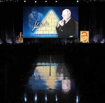 WESTWOOD, CA - JUNE 26, 2010: Coach Wooden's pyramid of success is displayed during the memorial service for former UCLA basketball coach John Wooden on June 26, 2010 at Pauley Pavilion on the University of California Los Angeles campus in Westwood, Calif