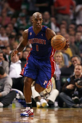 BOSTON - MAY 28:  Chauncey Billups #1 of the Detroit Pistons moves the ball up court in Game Five of the Eastern Conference Finals against the Boston Celtics during the 2008 NBA Playoffs at TD Banknorth Garden on May 28, 2008 in Boston, Massachusetts.  Th