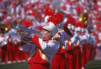 2 Sep 2000:  A general view of a marching band member for the Nebraska Cornhuskers being raised up at the half-time show during the game against the San Jose State Spartans at the Memorial Stadium in Lincoln, Nebraska. The Cornhuskers defeated the Spartan