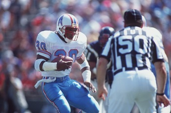 30 Sep 1990:  Mike Rozier of the Houston Oilers during their 17-7 victory over the San Diego Chargers at Jack Murphy Stadium in San Diego, California.  Mandatory Credit: Stephen Dunn/ALLSPORT