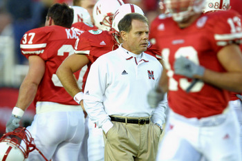 3 Jan 2002:   University of Nebraska head coach Frank Solich leads his team in warmups prior to the Rose Bowl National Championship Game versus Miami at the Rose Bowl in Pasadena, California.  Miami won 37-14.  DIGITAL IMAGE    Mandatory Credit:  Stephen