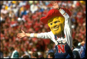 1988:  THE UNIVERSITY OF NEBRASKA MASCOT IN ACTION DURING THE CORNHUSKERS VERSUS THE FLORIDA STATE SEMINOLES AT THE FIESTA BOWL IN TEMPE, ARIZONA.
