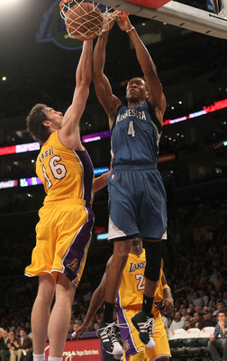 LOS ANGELES - NOVEMBER 9:  Wes Johnson #4 of the Minnesota Timberwolves dunks over Pau Gasol #16 of the Los Angeles Lakers at Staples Center on November 9, 2010 in Los Angeles, California. The Lakers won 99-94.   NOTE TO USER: User expressly acknowledges