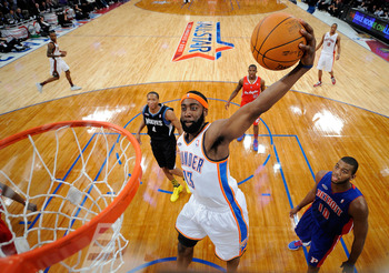 LOS ANGELES, CA - FEBRUARY 18:  James Harden #13 of the Oklahoma City Thunder and the Sophomore Team dunks the ball in the second half during the T-Mobile Rookie Challenge and Youth Jam at Staples Center on February 18, 2011 in Los Angeles, California.  (