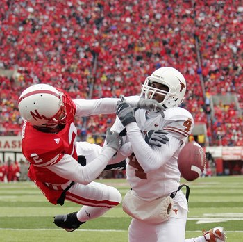 LINCOLN, NE - SEPTEMBER 21:  Cornerback Cortney Grixby #2 of the Nebraska Cornhuskers breaks up a pass in the endzone for Limas Sweed #4 of the Texas Longhorns on October 21, 2006 at Memorial Stadium in Lincoln, Nebraska. The Longhorns defeated the Cornhu