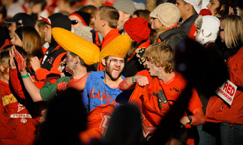 LINCOLN, NE - NOVEMBER 26: Nebraska Cornhusker fans celebrate another touchdown during their game against the Colorado Buffaloes at Memorial Stadium on November 26, 2010 in Lincoln, Nebraska. Nebraska defeated Colorado 45-17 (Photo by Eric Francis/Getty I