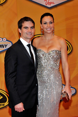 LAS VEGAS, NV - DECEMBER 03:  (L-R) NASCAR driver Jeff Gordon and his wife Ingrid Vandebosch attend the NASCAR Sprint Cup Series awards banquet at the Wynn Las Vegas Hotel on December 3, 2010 in Las Vegas, Nevada.  (Photo by David Becker/Getty Images for