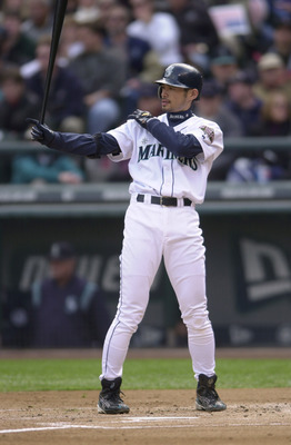 9 OCT 2001: Ichiro Suzuki #51 of the Seattle Mariners stands at the plate during game one of the American League Division Series against the Cleveland Indians at Safeco Field in Seattle, Washington. The Indians defeated the Mariners 5-0 to take a one game
