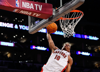 LOS ANGELES, CA - FEBRUARY 18:  DeMar DeRozan #10 of the Toronto Raptors and the Sophomore Team dunks the ball against the Rookie Team during the T-Mobile Rookie Challenge and Youth Jam at Staples Center on February 18, 2011 in Los Angeles, California.  (