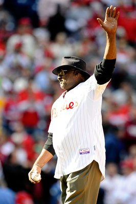 PHILADELPHIA - OCTOBER 07:  Dick Allen, former player for the Philadelphia Phillies gets set to throw out the ceremonial first pitch prior to Game One of the NLDS between the Philadelphia Phillies and the Colorado Rockies during the 2009 MLB Playoffs at C