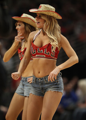 CHICAGO, IL - FEBRUARY 17: Members of the Chicago Bulls dance team 'The Luvabulls,' perform during a game between the Bulls and the San Antonio Spurs at the United Center on February 17, 2011 in Chicago, Illinois. The Bulls defeated the Spurs 109-99. NOTE