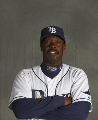ST. PETERSBURG, FL - FEBRUARY 22:  George Hendrick of the Tampa Bay Rays poses during Photo Day on February 22, 2008 at the Raymond A. Naimoli Baseball Complex in St. Petersburg, Florida. (Photo by Nick Laham/Getty Images)