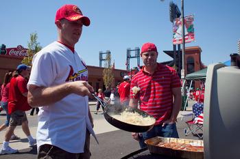 ST. LOUIS, MO - APRIL 12: Fans tailgate outside Busch Stadium prior to the St. Louis Cardinals playing against the Houston Astros in the home opener at Busch Stadium on April 12, 2010 in St. Louis, Missouri.  (Photo by Dilip Vishwanat/Getty Images)