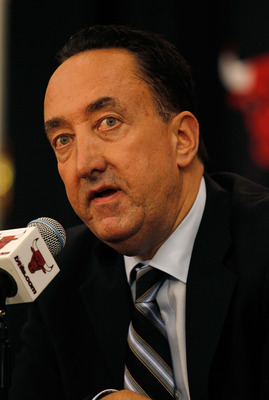 DEERFIELD, IL - JUNE 23: General manager Gar Forman of the Chicago Bulls announces that Tom Thibodeau, formally an assistant coach with the Boston Celtics, will become the new head coach of the Bulls during a press conference at the Berto Center practice