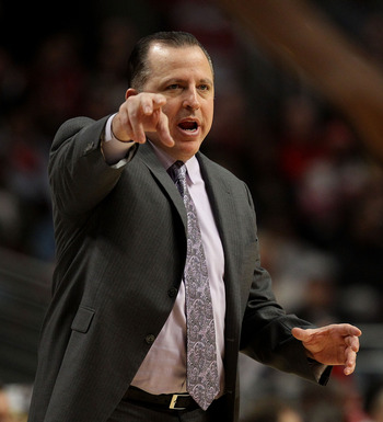 CHICAGO, IL - FEBRUARY 15: Head coach Tom Thibodeau of the Chicago Bulls gives instructions to his team during a game against the Charlotte Bobcats at the United Center on February 15, 2011 in Chicago, Illinois. The Bulls defeated the Bobcats 106-94. NOTE